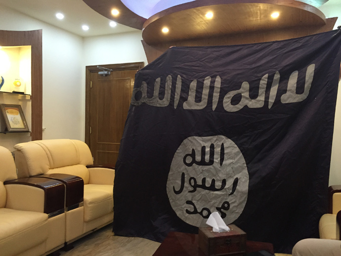 This ISIS flag was captured by from the house of a tribal chief in Albu Ajeel, Tikrit (image by Eisa Ali)