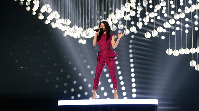 Last year's winner Conchita Wurst of Austria performs during the first dress rehearsal for the final of the upcoming 60th annual Eurovision Song Contest In Vienna, May 22, 2015 (Reuters / Leonhard Foeger)