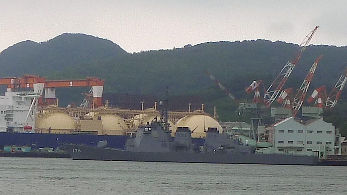 Battleship in Nagasaki.(Photo by Andre Vltchek)