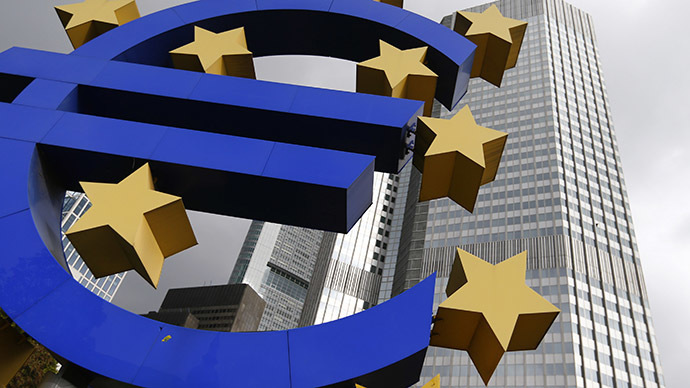The sculpture displaying a giant Euro sign is seen in front of the European Central Bank (ECB) headquarters (Reuters)