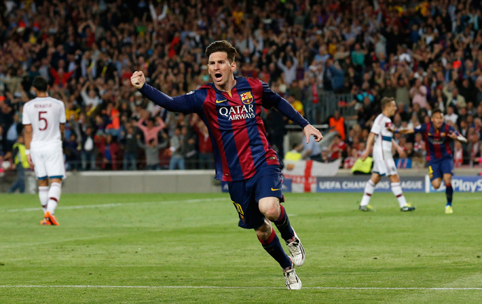 Barcelona's Lionel Messi celebrates scoring their first goal (Reuters / Gustau Nacarino)