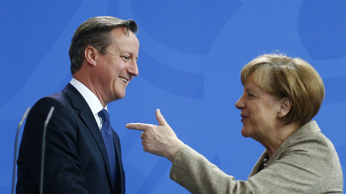 Cameron 'playing poker with his hands of cards facing upwards'