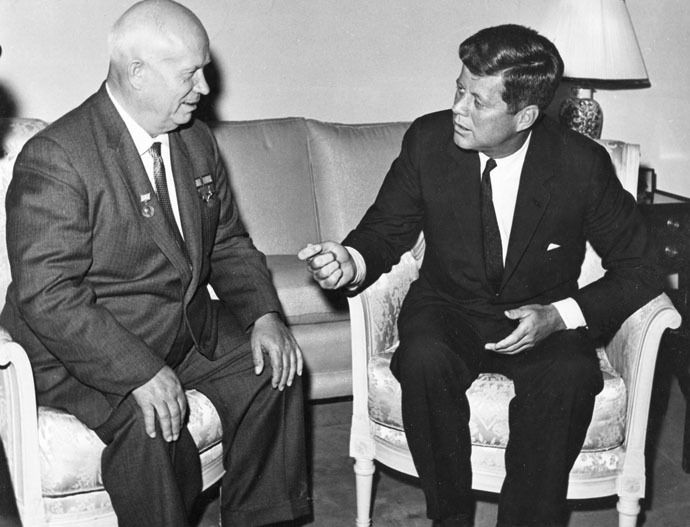 Former United States President John F. Kennedy (R) meets with Nikita Khrushchev, former chairman of the council of Ministers of the Soviet Union, at the U.S. Embassy residence in Vienna, Austria in this June 1961 handout image. (Reuters/Evelyn Lincoln/The White House/John F. Kennedy Presidential Library)