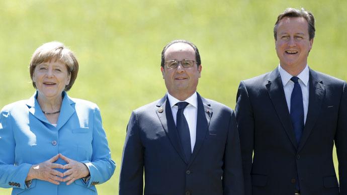 German Chancellor Angela Merkel, French President Francois Hollande and British Prime Minister David Cameron (Reuters/Christian Hartmann)