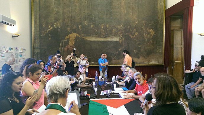 The announcement of the new flotilla at a press conference in Messina, Sicily (Photo by Nadezhda Kevorkova)