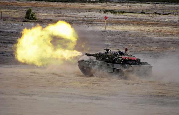 Units from NATO allied countries take part in the NATO Noble Jump 2015 exercises, part of testing and refinement of the Very High Readiness Joint Task Force (VJTF) in Swietoszow, Poland June 18, 2015. (Reuters/Anna Krasko/Agencja Gazeta)