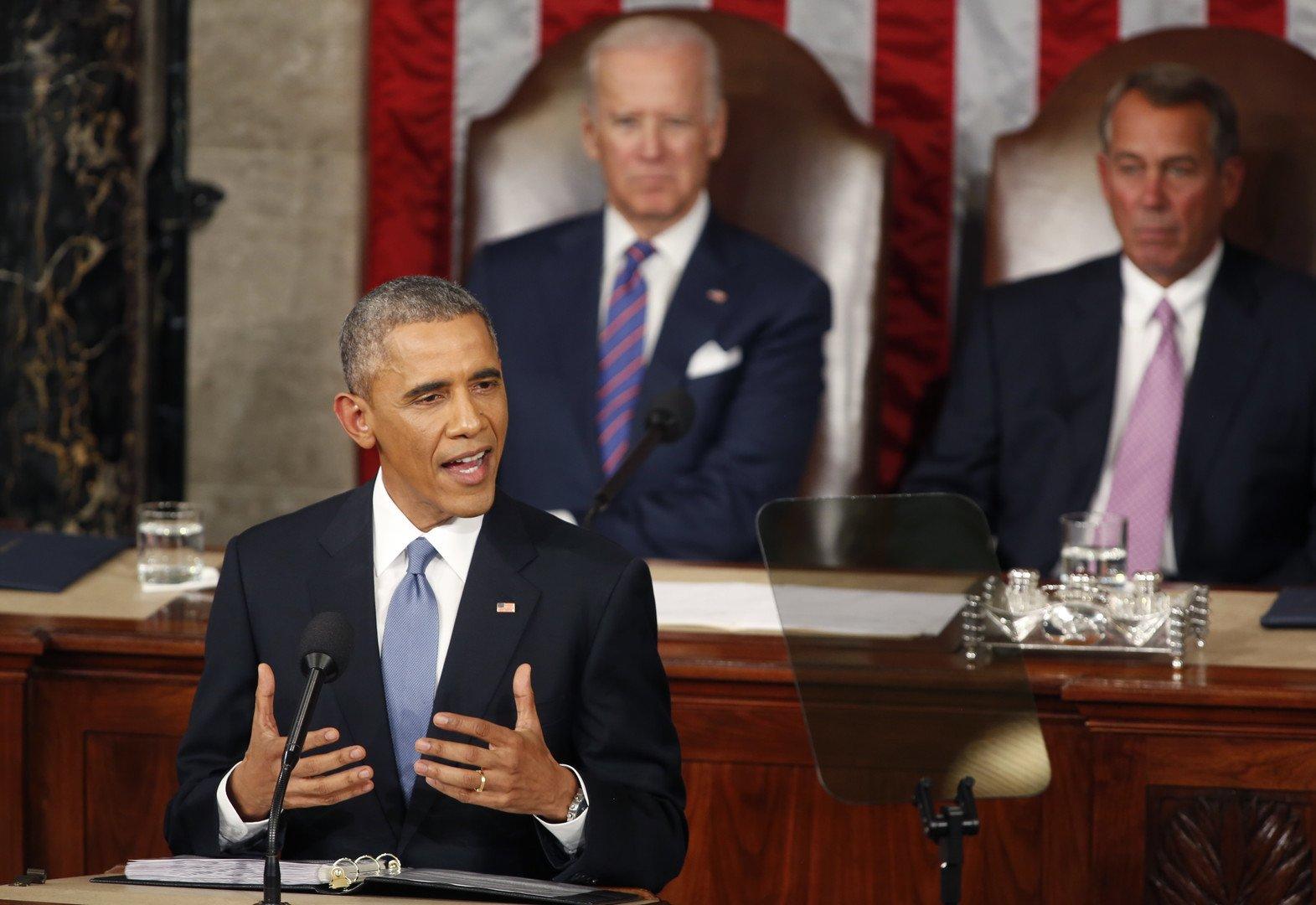 Le discours de Barak Obama sur l'état de l'Union le 20 janvier 2015. (REUTERS/Larry Downing)