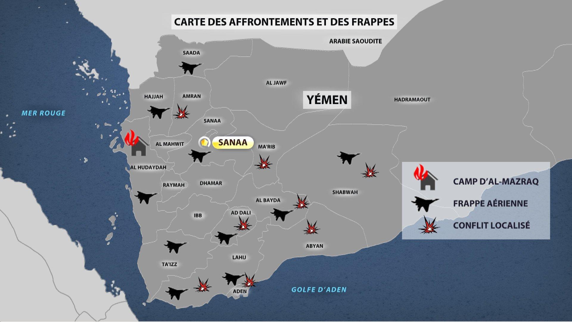 Carte des affrontements et des frappes au Yémén