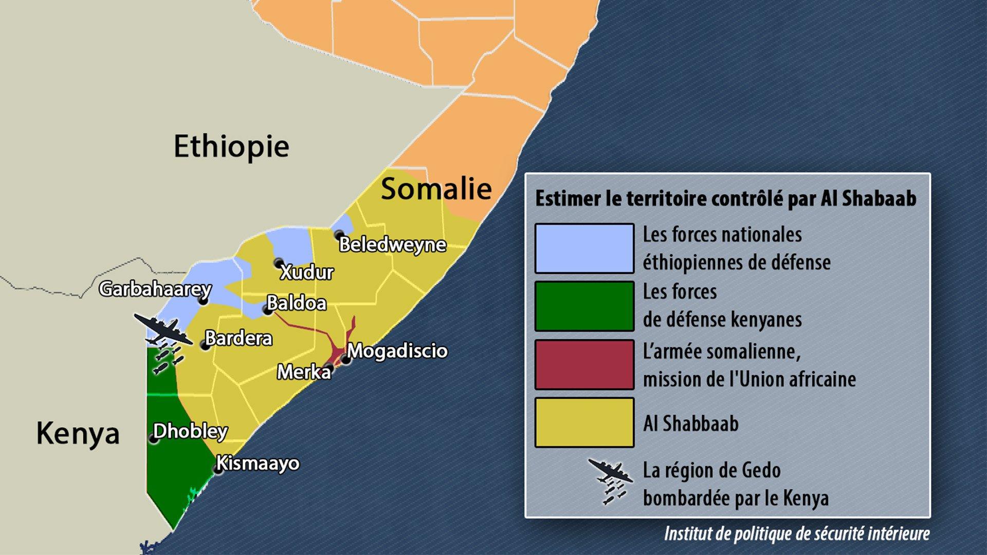 Estimer le territoire contrôlé par Al Shabbaab