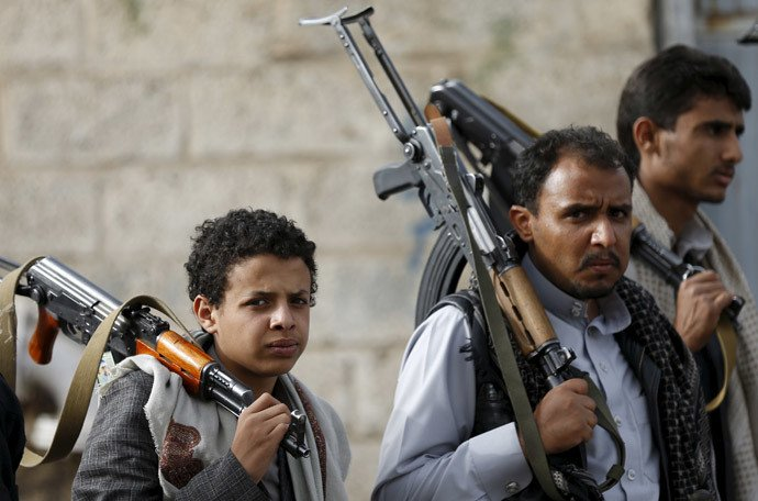 Les militants houthis à Sanaa le Sanaa 5 avril 2015.