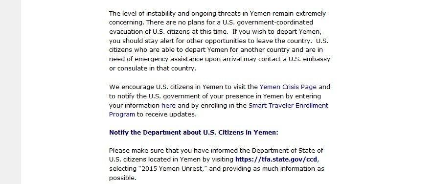 Capture d'écran du site de l'ambassade américain au Yémén
