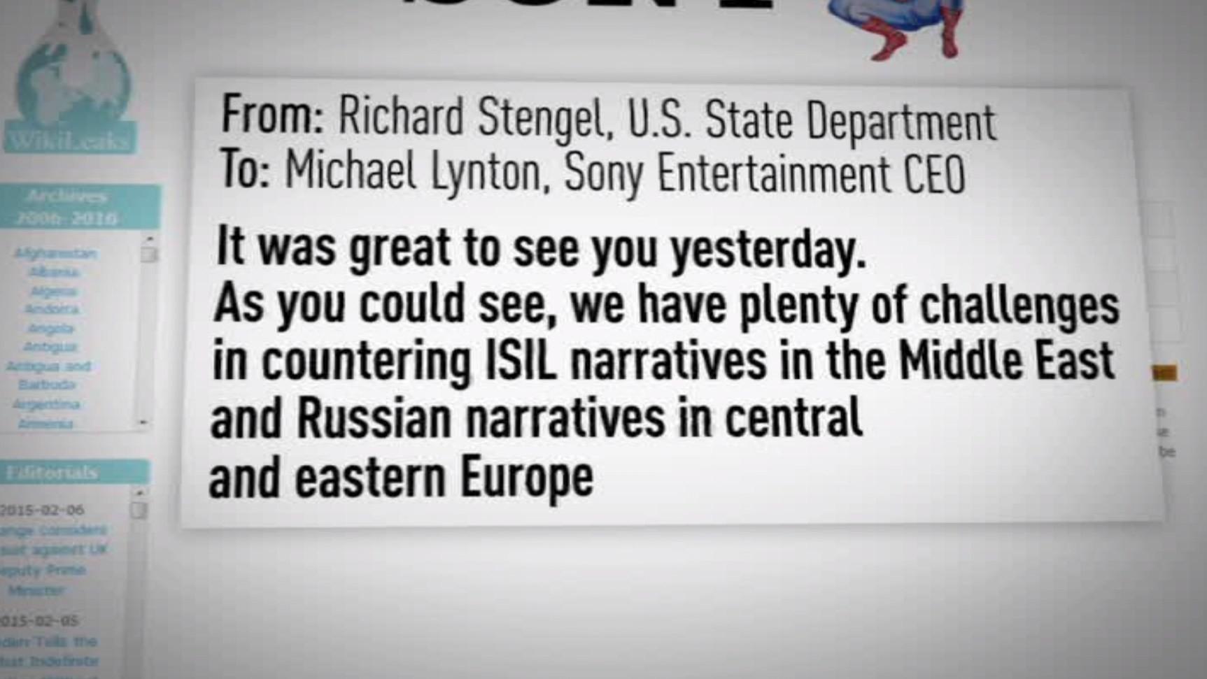 Washington a demandé de l'aide à Sony pour contrer les propos de la Russie et de Daesh