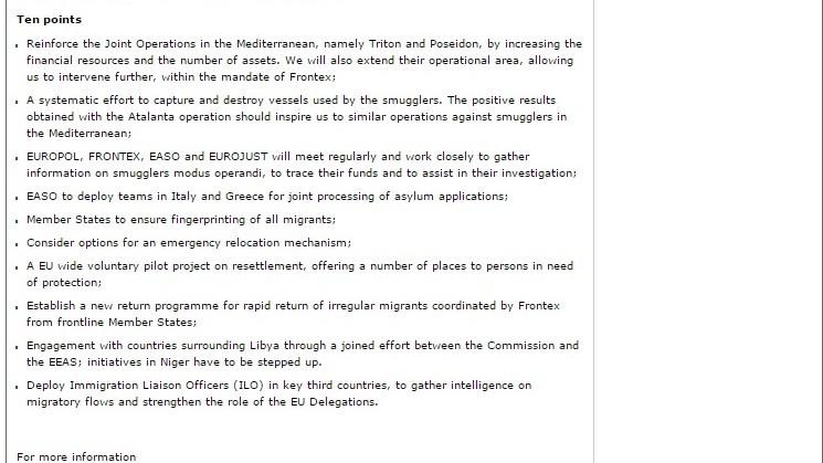 Dix points du plan d'action de la Commission européene