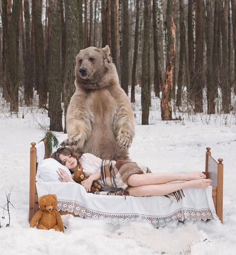 Cajoler un ours de 650 kg dans la neige et en maillot de bain ? Des mannequins russes l'ont fait !