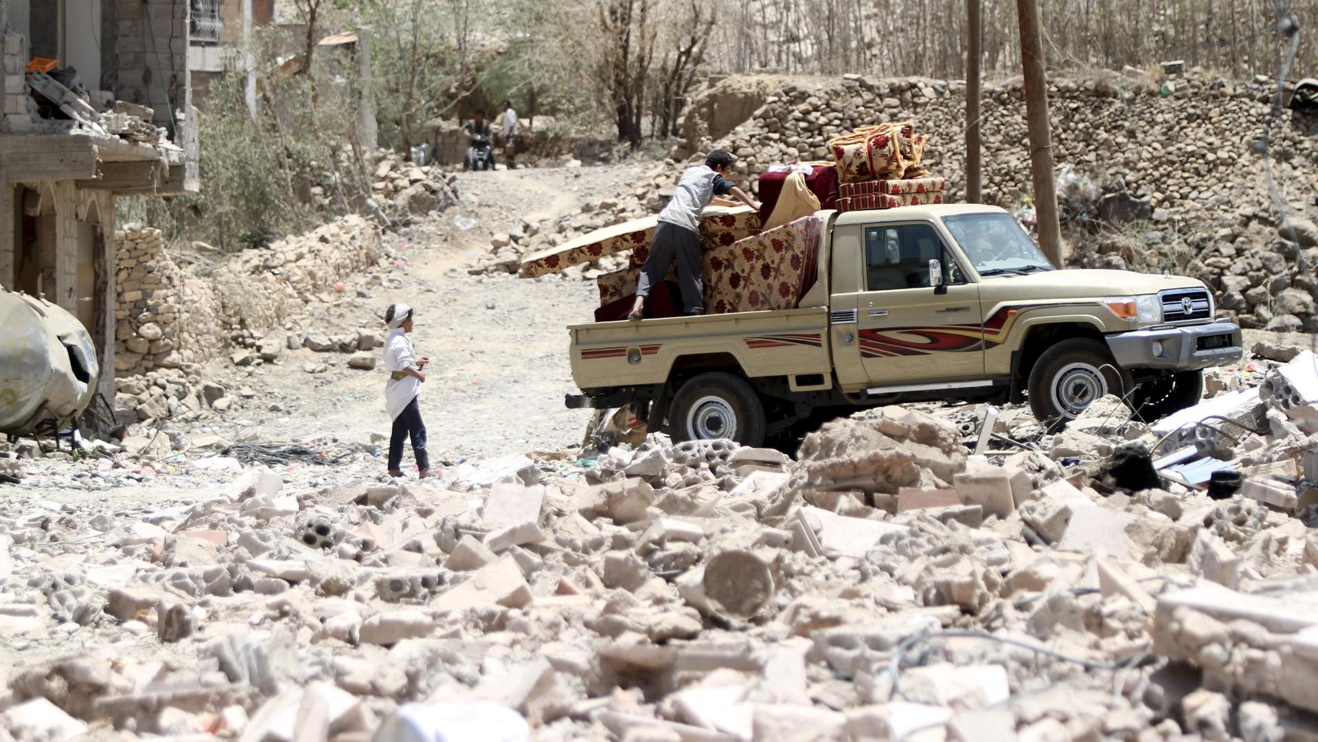 Les débris d'une maison au Yémen