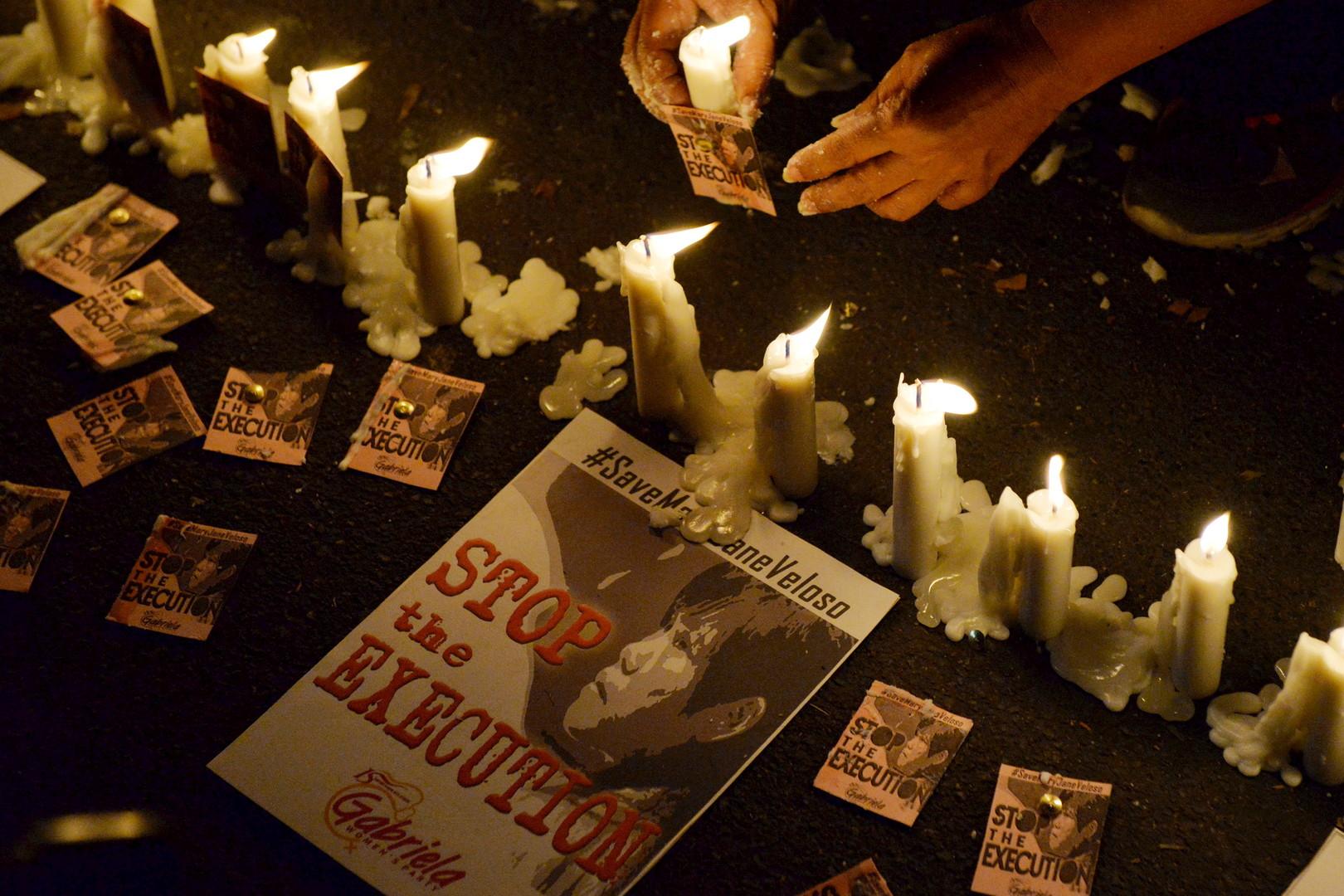 Une veillée de chandelle organisée par les activistes pour l'accusée Mary Jane Veloso