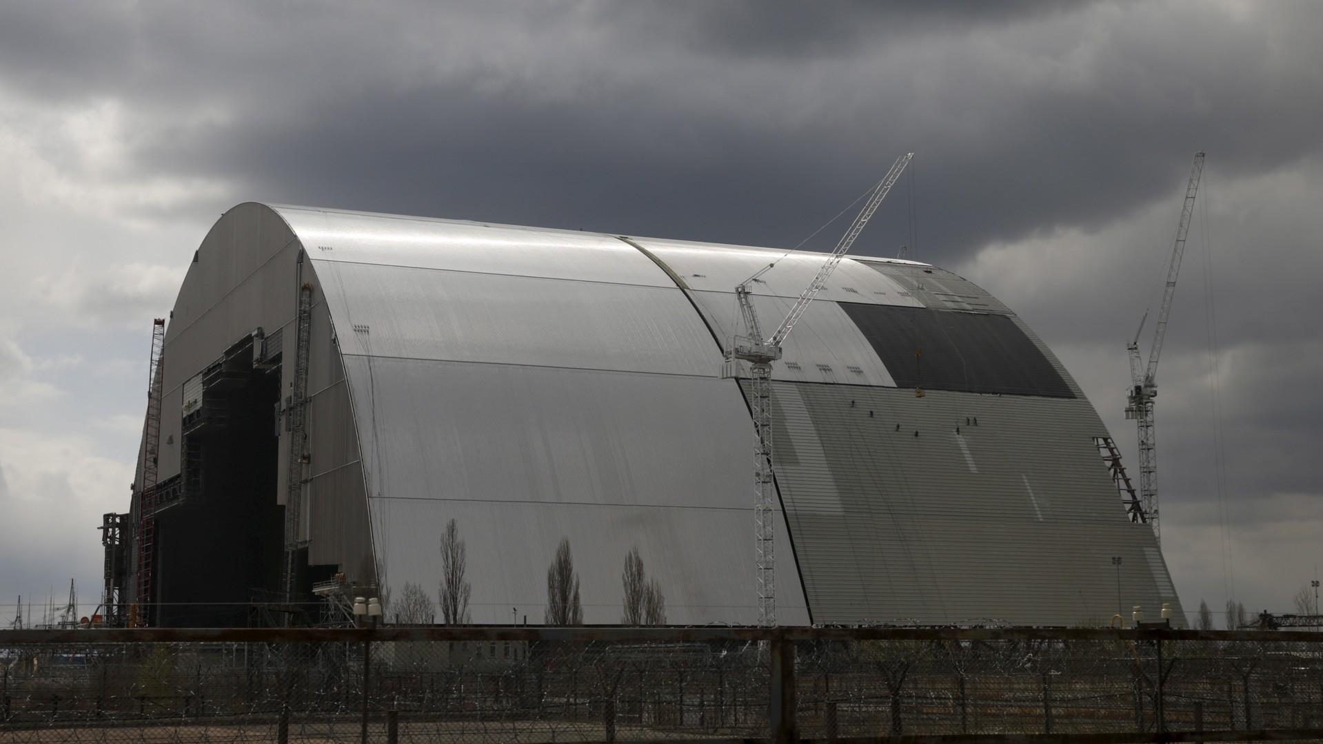 L'arche de confinement du réacteur no.4 de la centrale nucléaire abandonnée de Tchernobyl