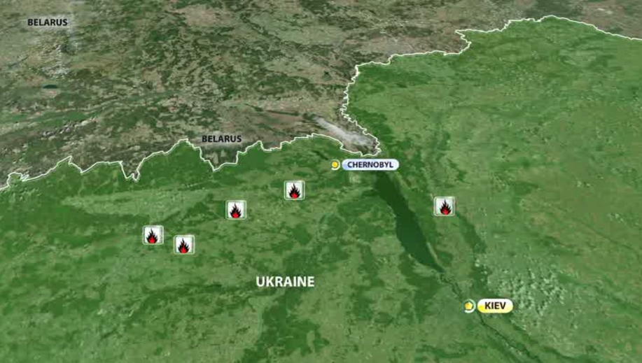 La carte des feux de forêt à Tchernobyl