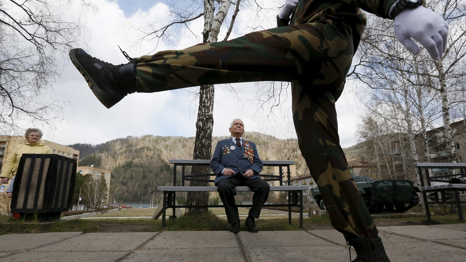 L'ancien combattant russe Aleksei Samokhine, 90 ans