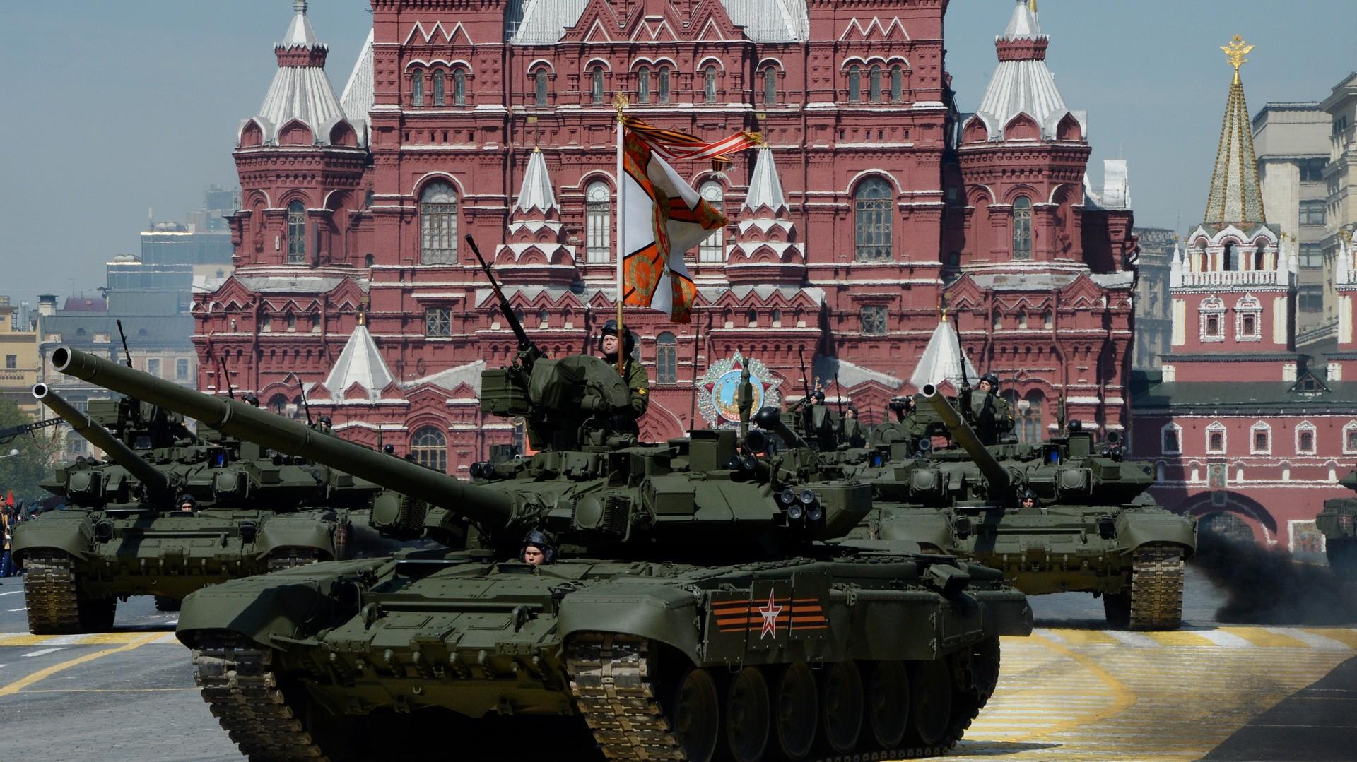 Le char russe T-90 à la parade du 9 mai à Moscou