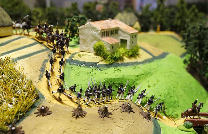 Des figurines représentant l'armée prussienne au cours de la bataille