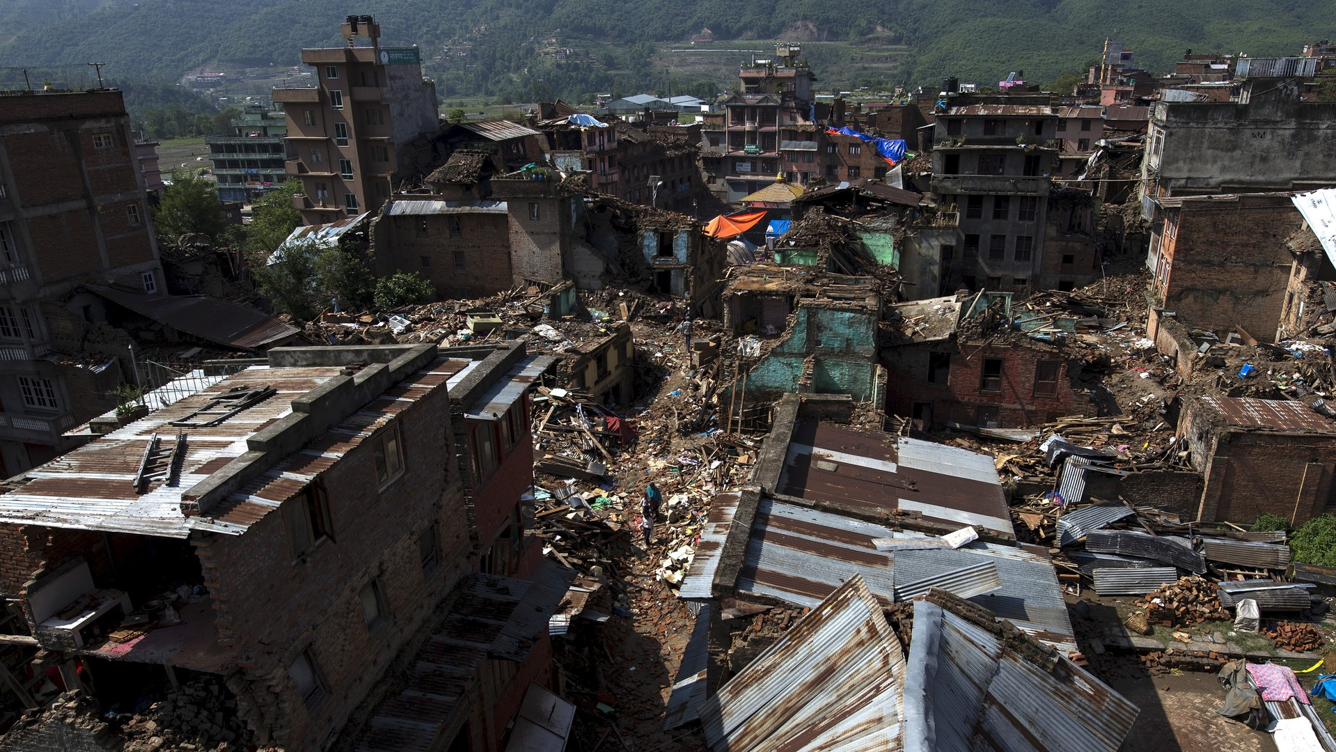 Des bâtiments détruits dans la banlieue de Katmandou