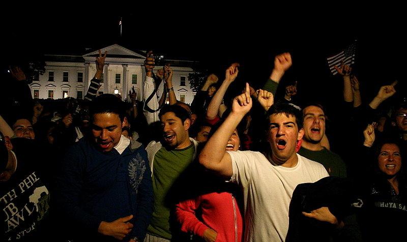 Célébrations de la mort d'Oussama Ben Laden devant la Maison Blanche
