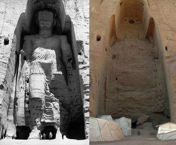 Le Bouddah de Bamiyan avant et après sa destruction par les talibans en Mars 2001