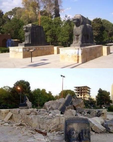 Les lions Assyriens de Raqa avant et après leur destruction