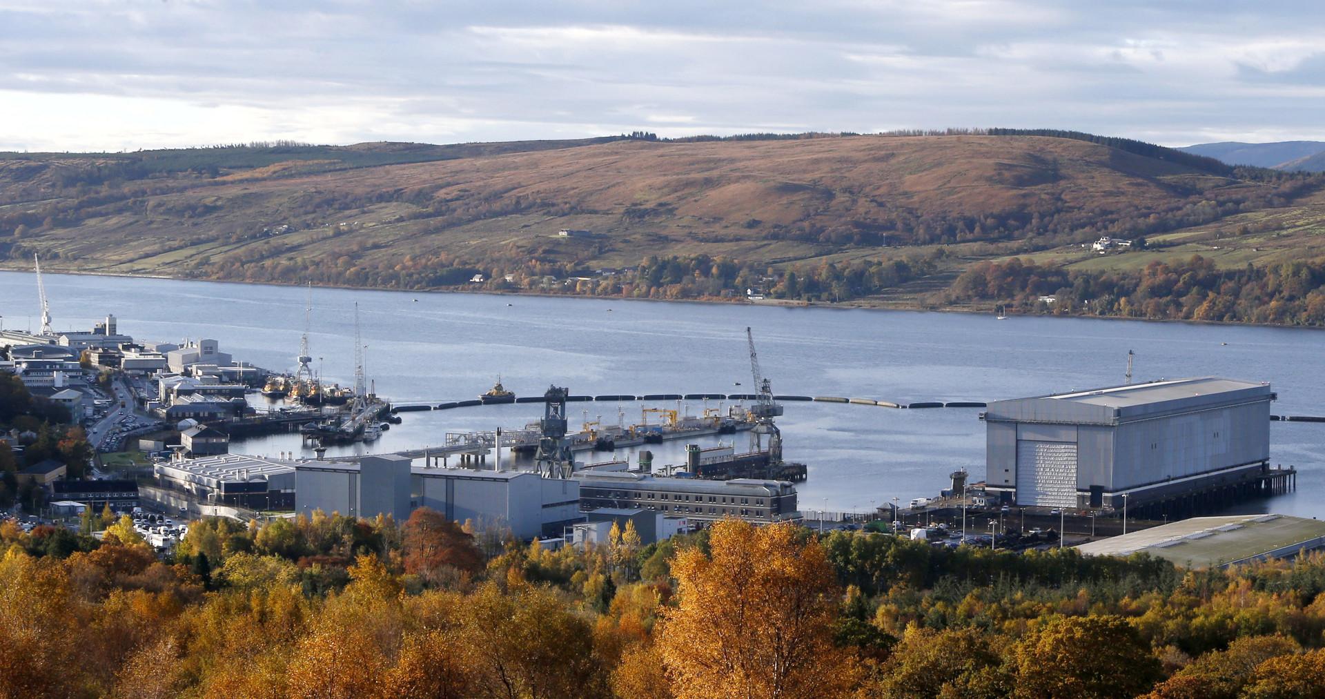 Vue générale de la base navale de Clyde, en Ecosse