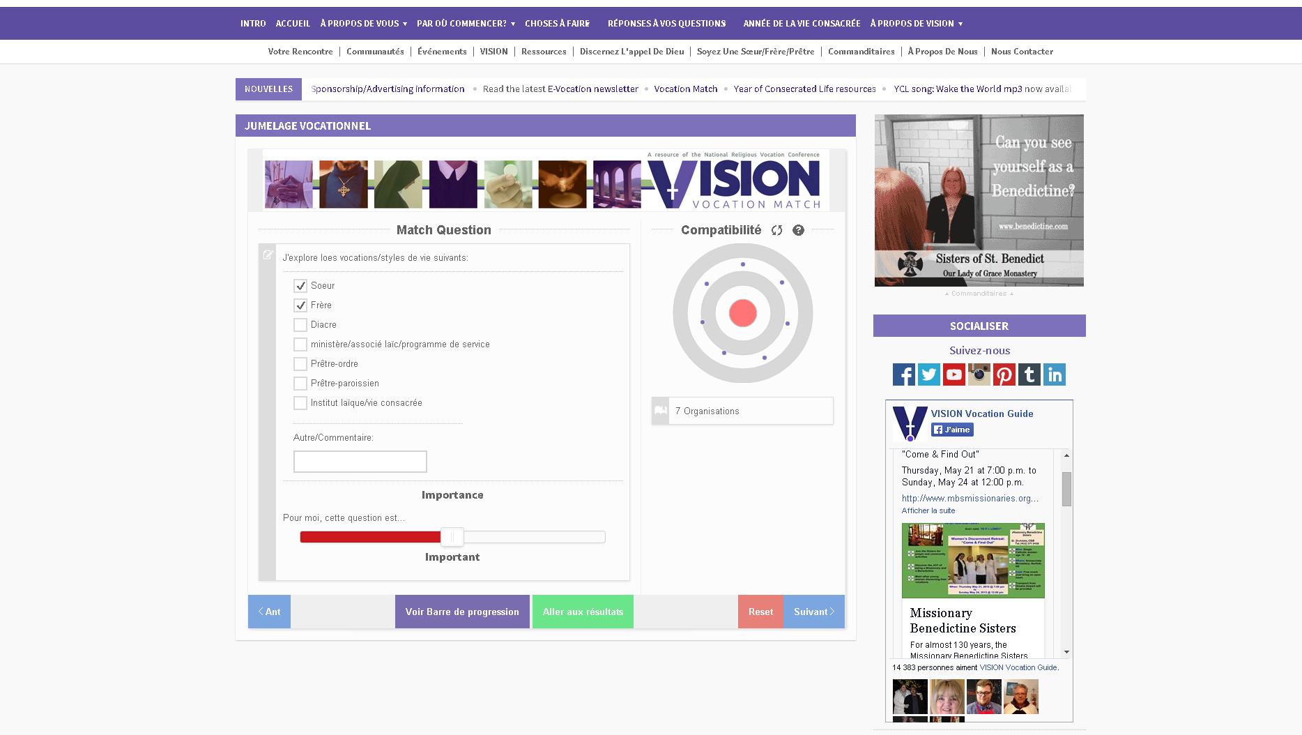 L'application pour choisir le couvent sur le portail religieux «Vision vocation match»