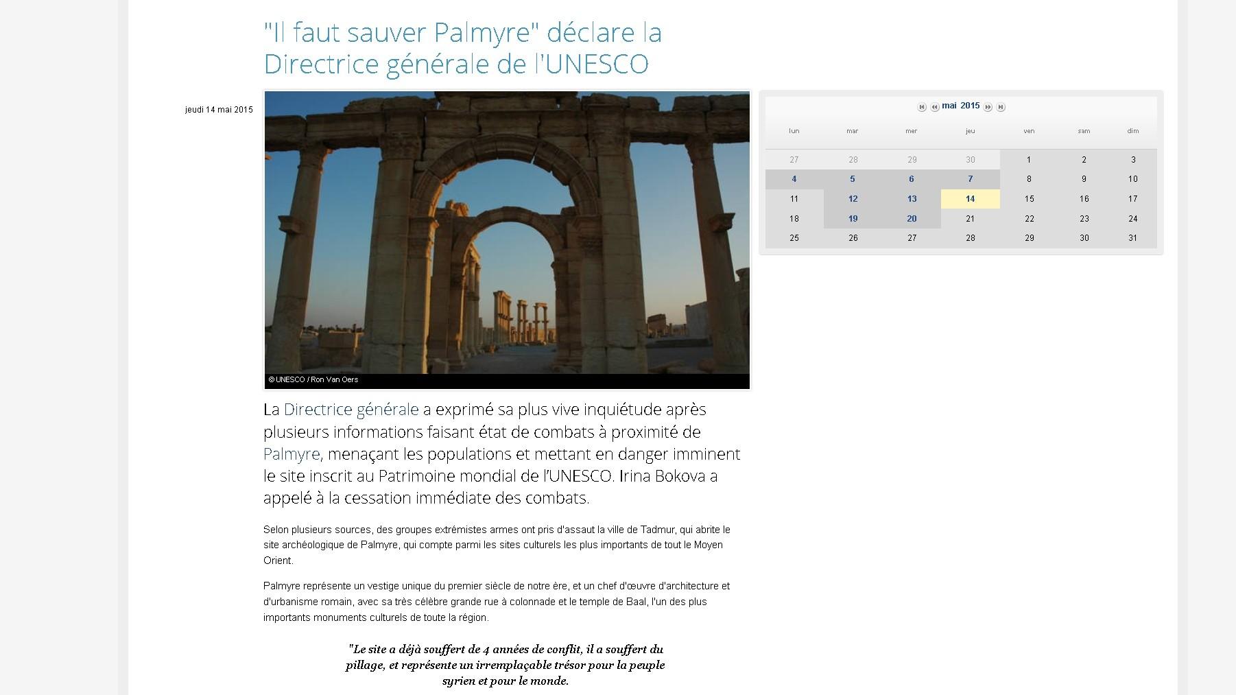 Capture d'écran du site de l'UNESCO