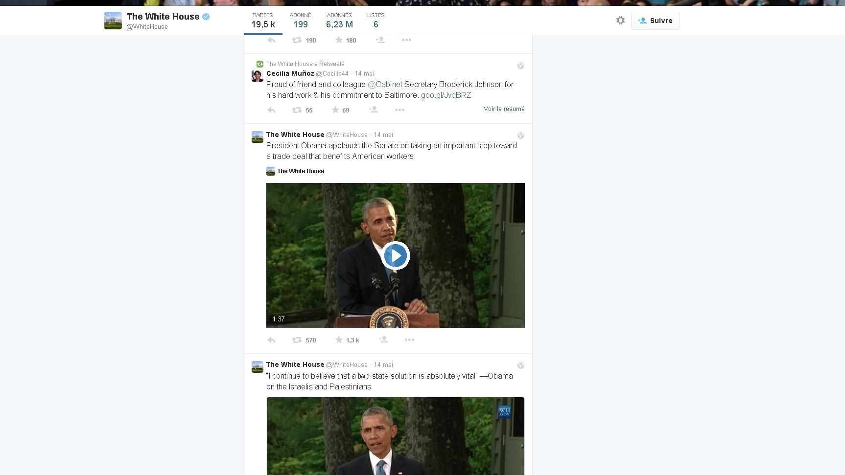 Le capture d'écran du compte de Twitter de la Maison Blanche