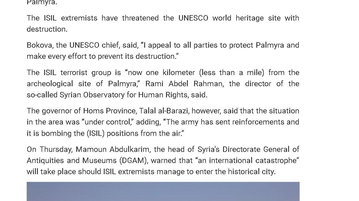 Palmyre : chronique d'une chute annoncée