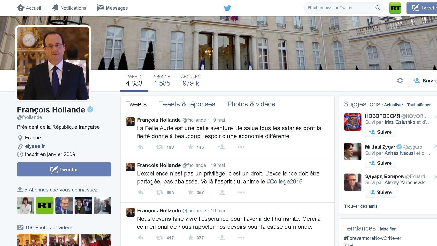 Le capture d'écran du compte de Twitter de François Hollande