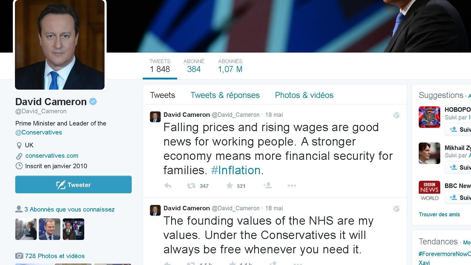 Le capture d'écran du compte de Twitter  de David Cameron