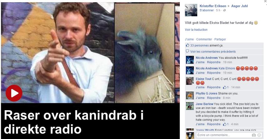 La page Facebook de l'animateur de radio danois