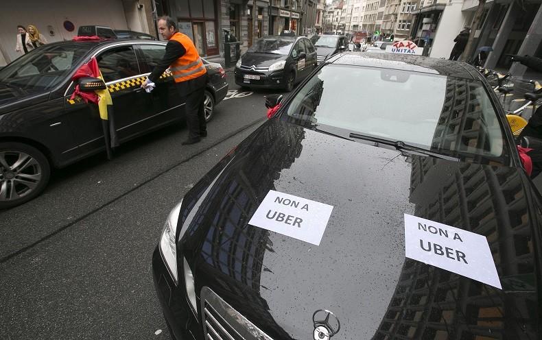 Une manifestation de taxis à Bruxelles.