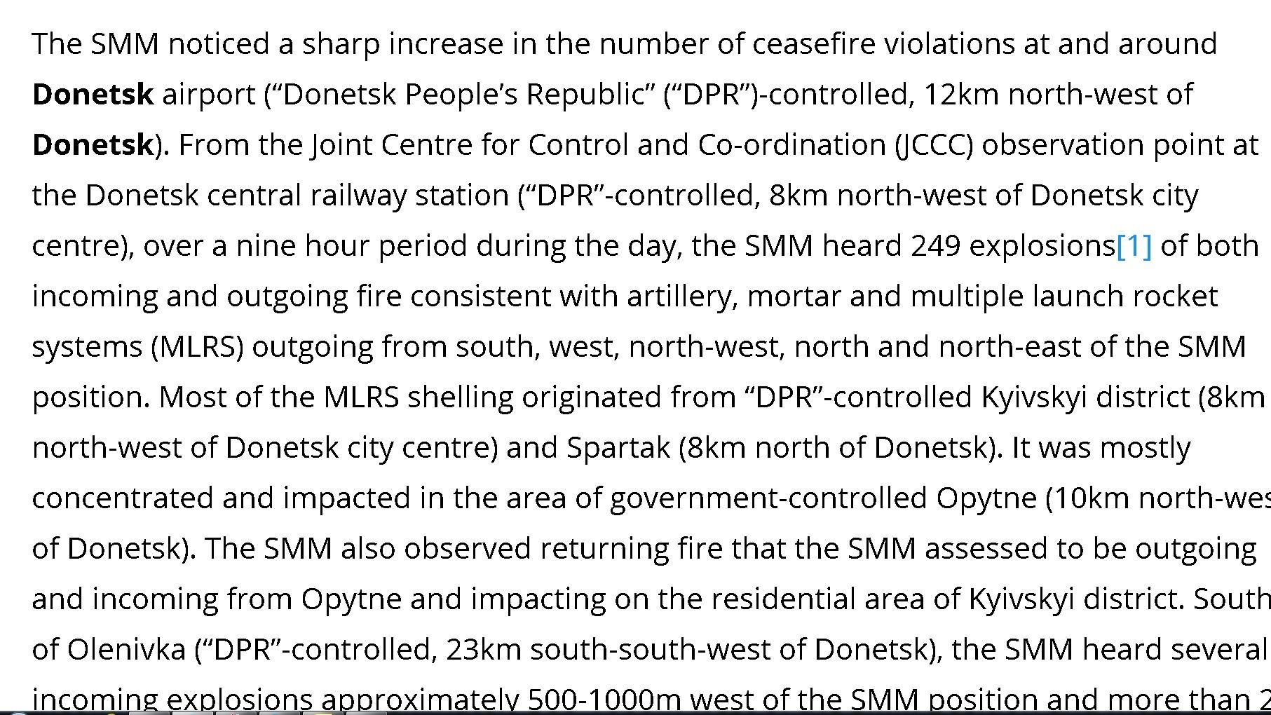 OSCE : la ville de Donetsk secouée par 249 explosions en 9 heures