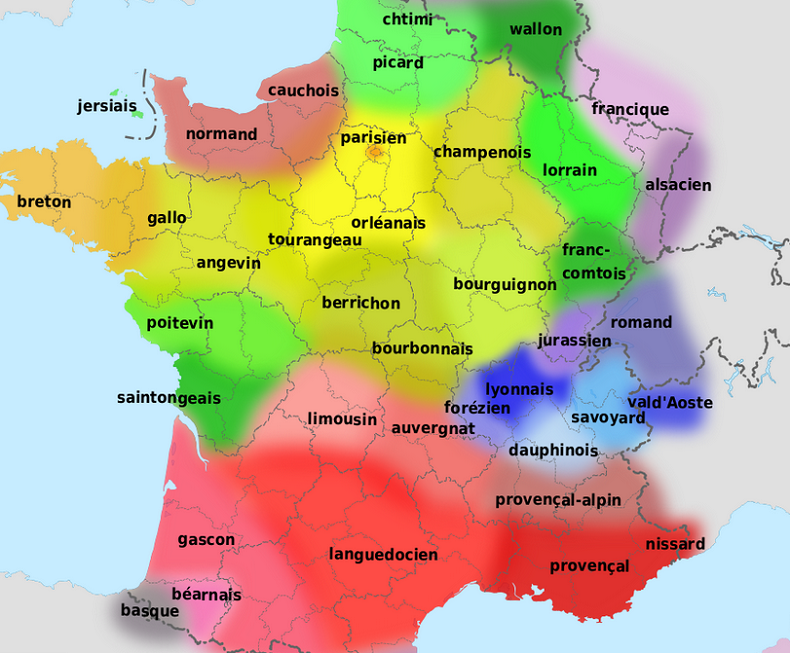 Capture écran Carte des langues régionales (Source Wikipedia)