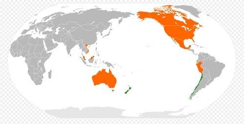 Les pays en orange sont actuellement en négociation pour le TPP