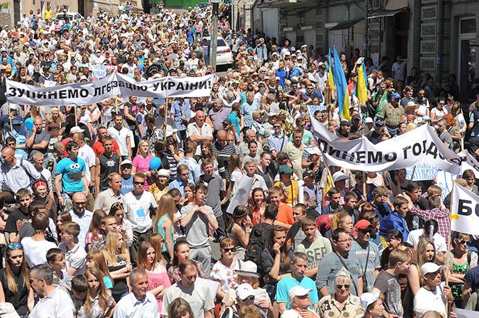 La marche des protestataires à Kiev