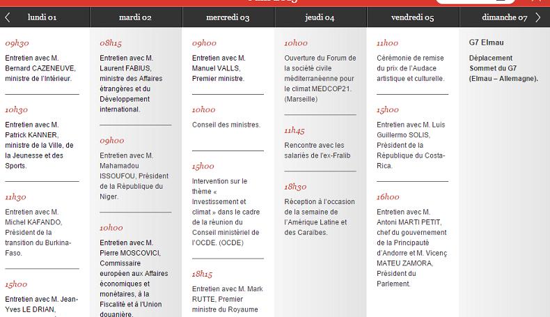 Capture d'écran de l'agenda de François Hollande du 1er au 7 juin 2015