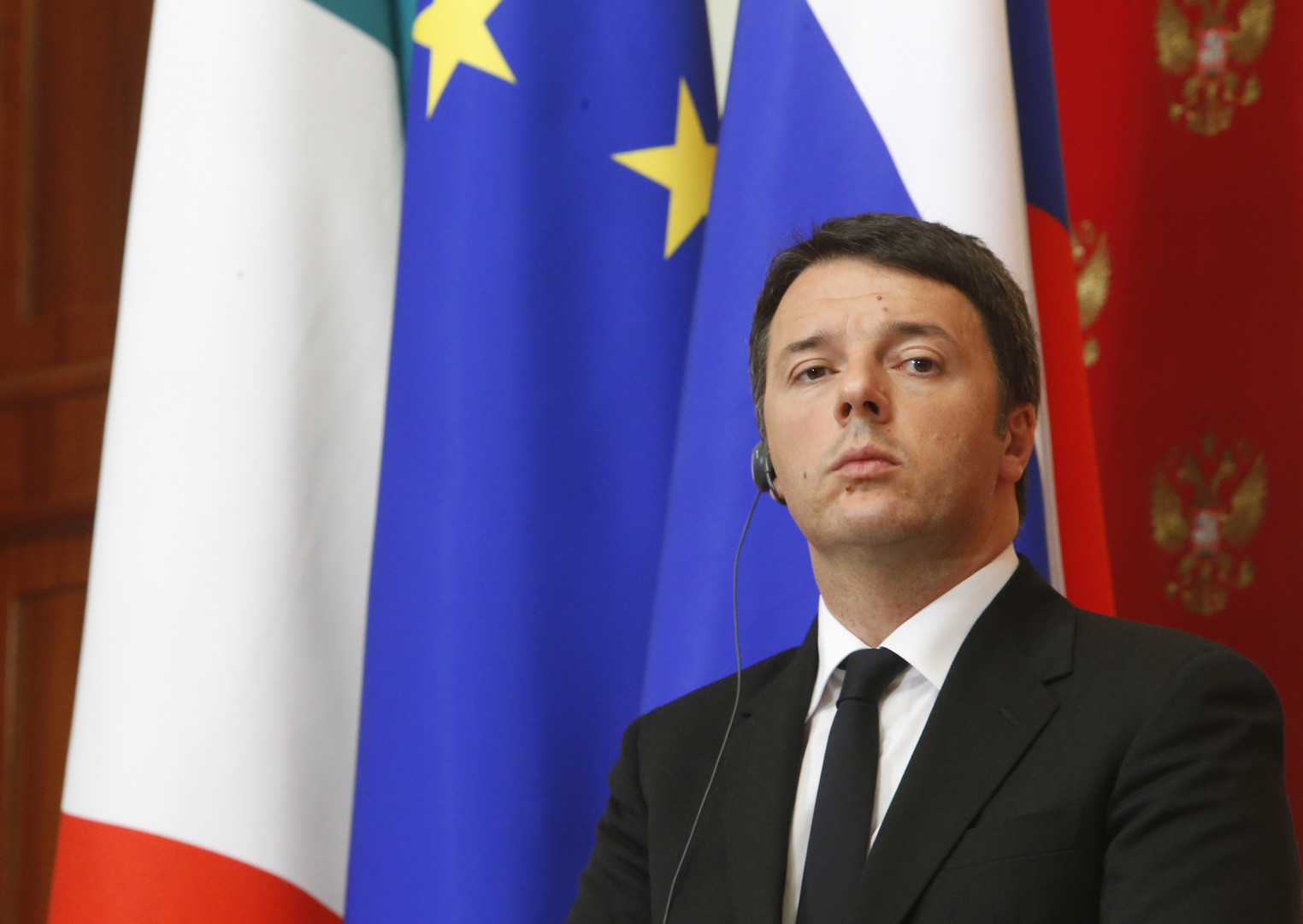 Matteo Renzi lors de sa visite à Moscou le 5 mars 2015.