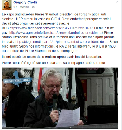 Capture d'écran de la page Facbook d'Ulcan, Grégory Chelli