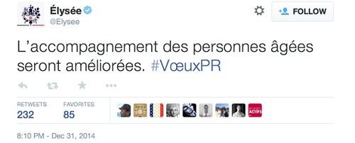 Tweet de l'Elysée