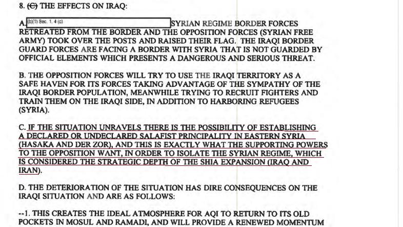 Capture d'écran du document déclassifié / Source : judicialwatch