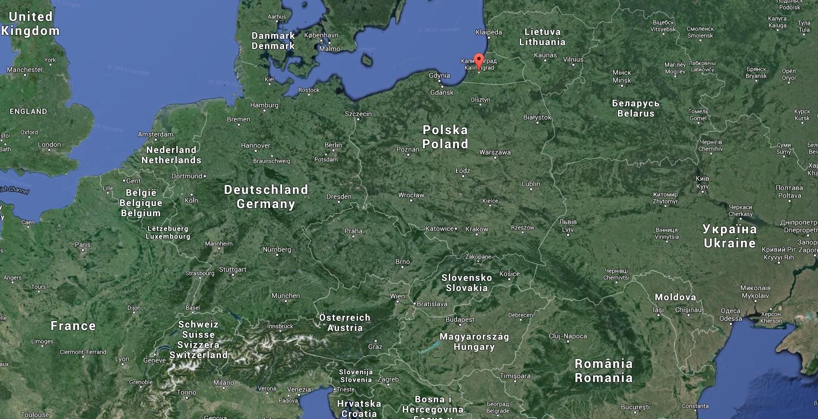 L'enclave russe de Kaliningrad (capture d'écran de Google Maps)