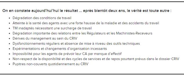 Dans un communiqué, la CGT RATP énonce ses points de mécontentement