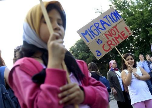 Des migrants protestent contre la politique du Premier ministre hongrois, Viktor Orban